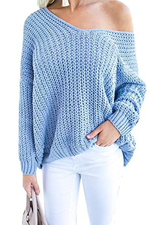 ca4cdd58dde SySea Womens Oversized Sweaters V Neck Off Shoulder Long Sleeve Chunky Knit  Pullover Tunic Tops at Amazon Women s Clothing store