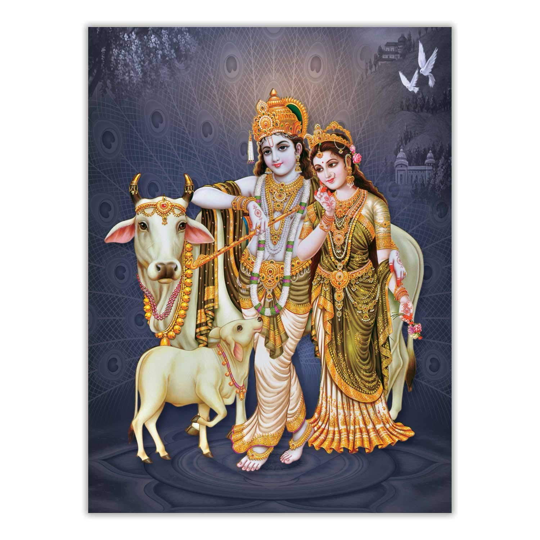 ARTAMORI Radha Krishna with Cow Poster ...