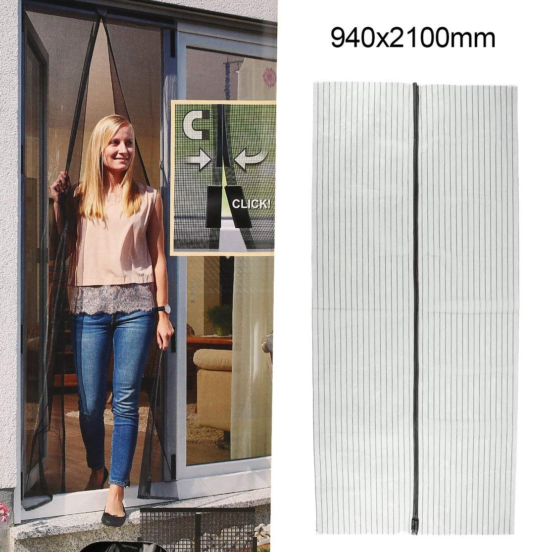 LouiseEvel215 Summer Magnetic Mesh Net Curtains Anti Mosquito Insect Fly Bug Curtains Automatic Closing Door Kitchen Screen Curtains
