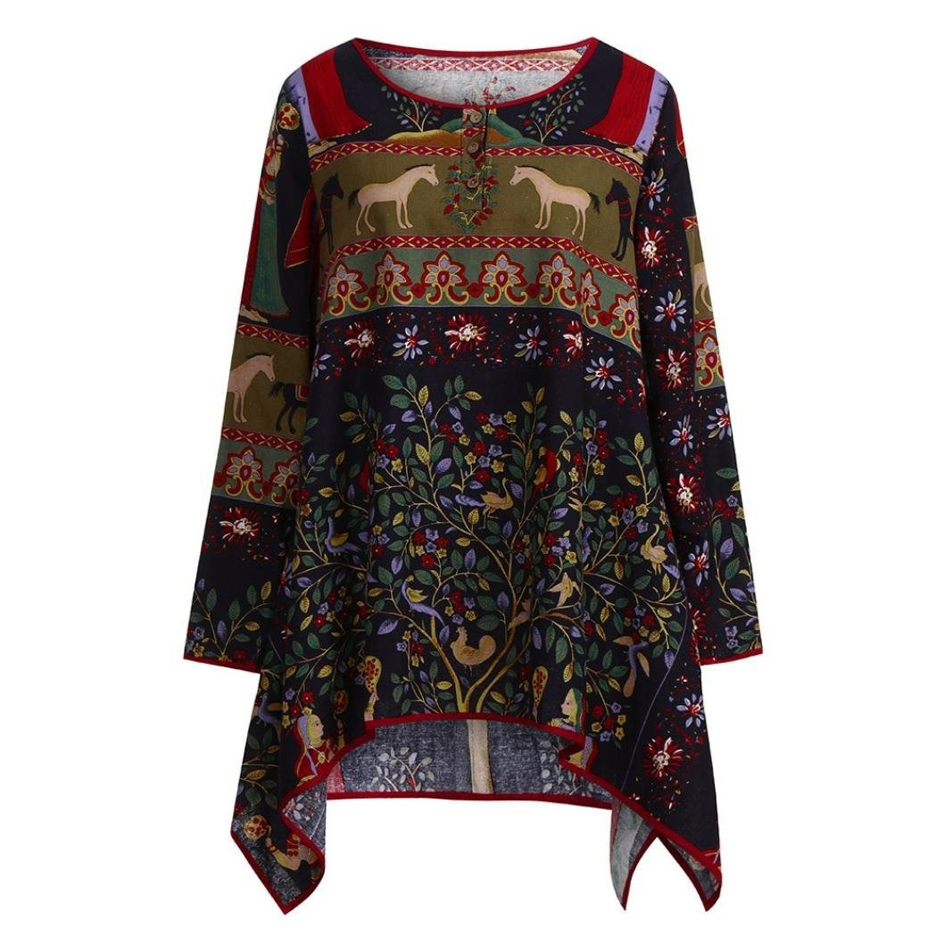 Challyhope Womens Vintage Boho Print Long Sleeve Blouse Cotton Linen Pullover Hi-Low Hem Tunic Tops Ethnic Style