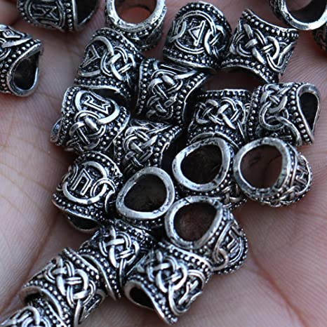 Minidar Viking Rune Beards Cuentas de Bricolaje para Trenzas de ...
