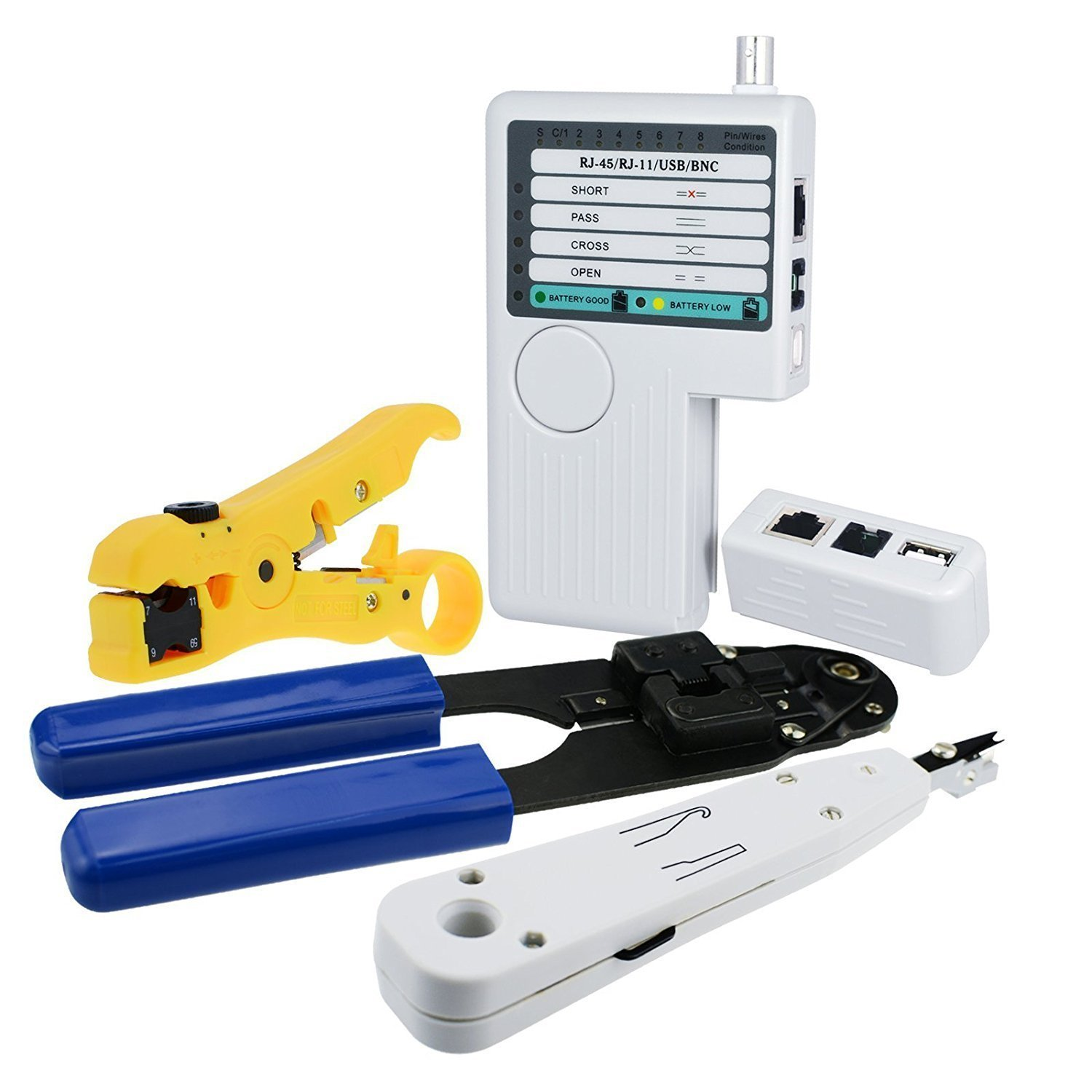 Combo Set Network Cable Tester Tool Kit - Crimping Crimper Tool Punch Down Tool Wire Stripper Cutter, RJ45 RJ11 USB BNC Flat UTP Cat5 Cat6 Coax cable Stripping Universal Tool
