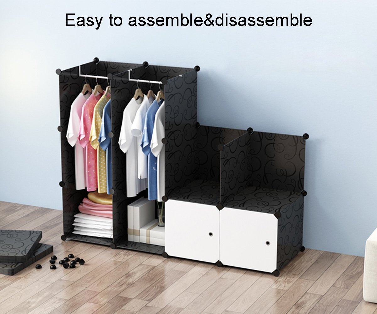 Amazon.com: MEGAFUTURE Wood Pattern Portable Wardrobe For Hanging Clothes,  Combination Armoire, Modular Cabinet For Space Saving, Ideal Storage  Organizer ...