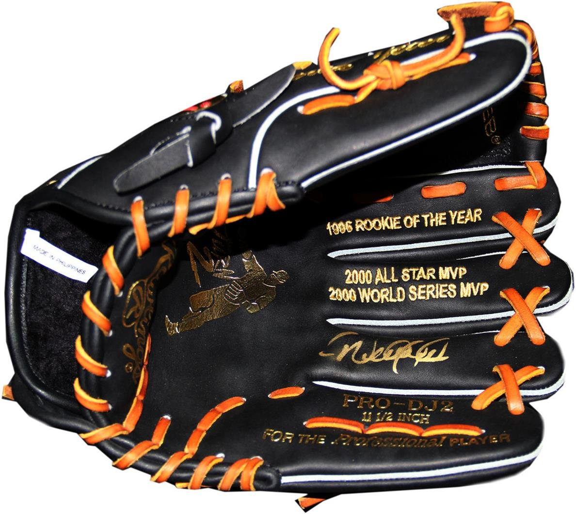 MLB New York Yankees Derek Jeter Signed Game Model Multi Stat Embroidered Glove Gold Edition