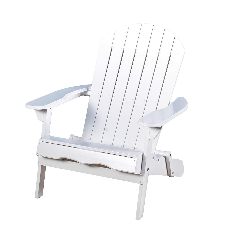 Milan Outdoor Folding White Wood Adirondack Chair GDF Studio