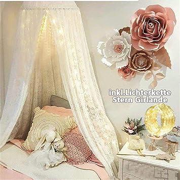 Spitze Baldachin, Spitzenborte Betthimmel aus Spitze Baumwolle Atmungsaktiv  Moskitonetz Baby Prinzessin Spielzelte Deko fürs Kinderzimmer Schlafzimmer  ...