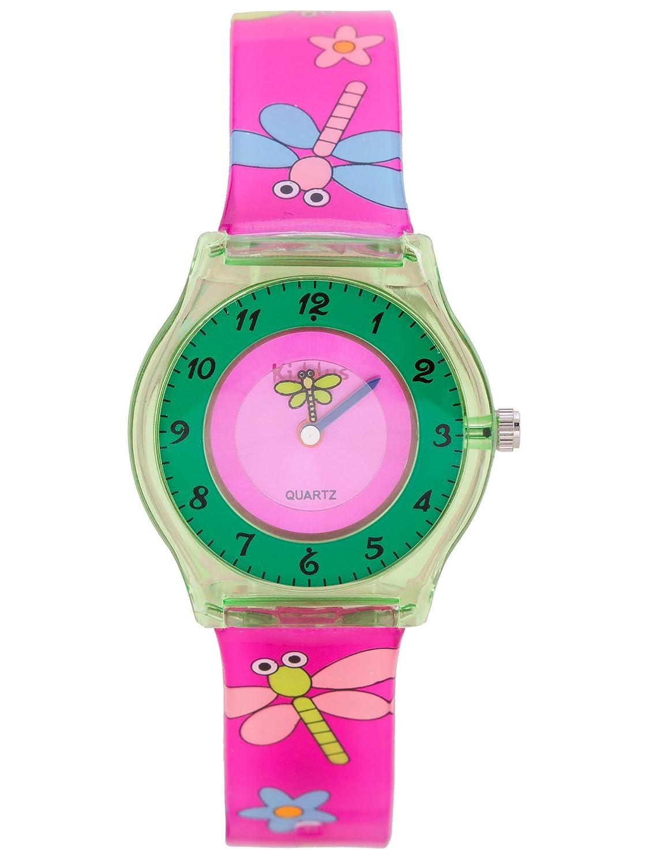 Reloj niña chica infantil, de aprendizaje educativo analógico de cuarzo MARIPOSA FLOR en caja de regalo, Resistente al agua, Mecanismo Seiko, Batería Sony, ...