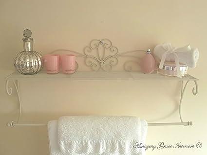 Porta Asciugamani Bagno Shabby : Shabby chic francese crema porta asciugamani da muro e scaffale da
