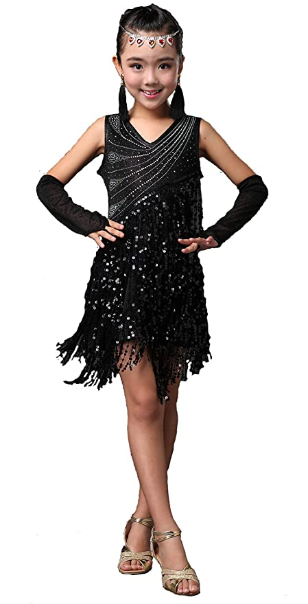 1920s Children Fashions: Girls, Boys, Baby Costumes Forgrace Girls Sparkling Sequin Tassels Latin Rumba Salsa Performance Dancing Dress $32.99 AT vintagedancer.com