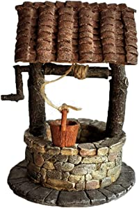 Top Collection Miniature Fairy Garden and Terrarium Fairy Wishing Well with Turning Crank Statue