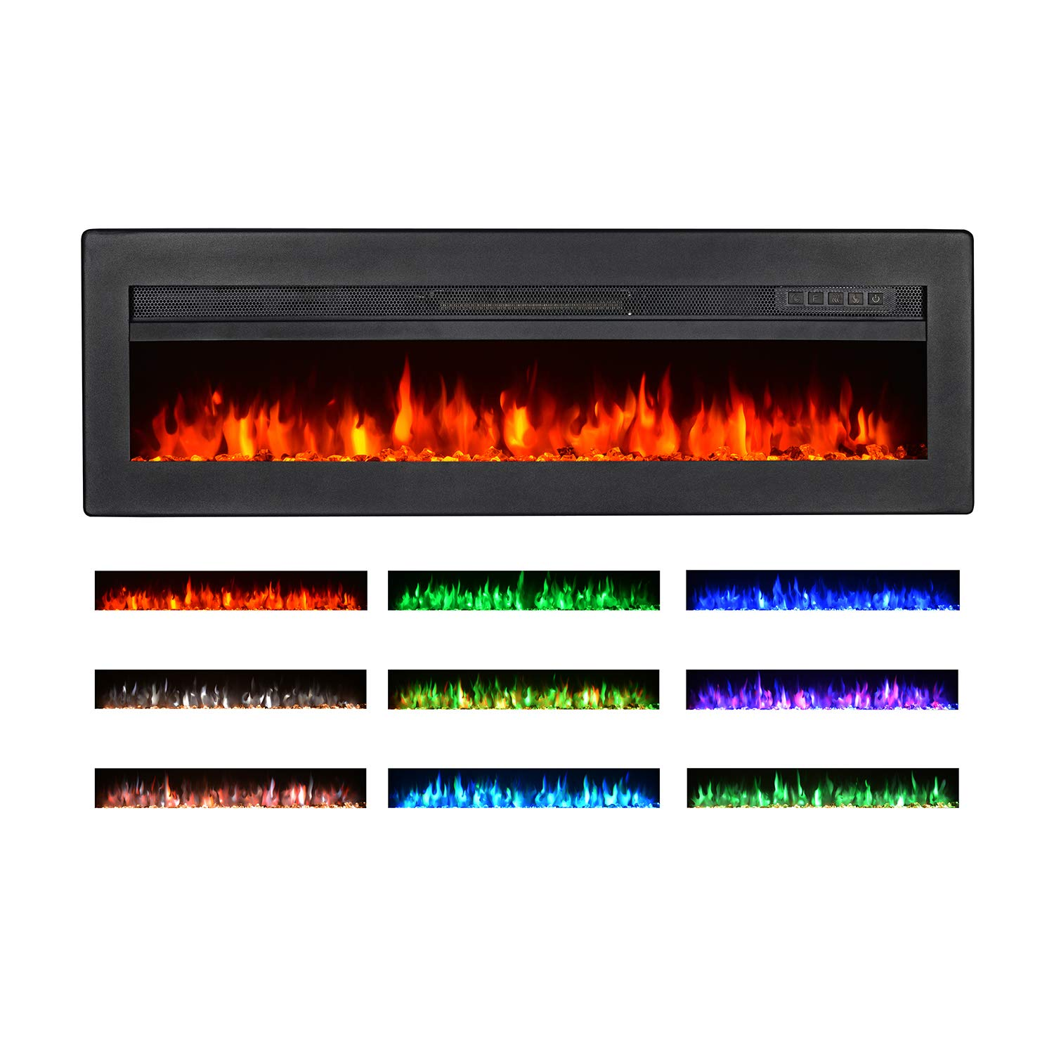 Maxhonor 40 Inches Electric Fireplace Insert Wall Mounted Freestanding Heater with Remote Control, 1500/750W, Black by Maxhonor