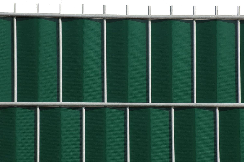 Zaun-Nagel Sichtschutzstreifen Windschutz PVC f/ür Doppelstabzaun Balkon Garten 30 m GR/ÜN inkl 12 Clips