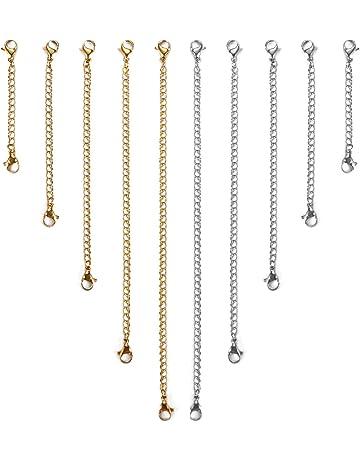 Argent et Or Dokpav 10 pcs Cha/îne dExtension Rallonge de Cha/îne Collier Extension en Acier Inoxydable pour Fabrication de Bijoux