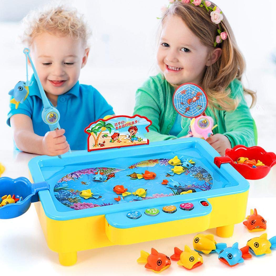 Aelove Child Early Education Multi-Function Music Fishing Toys Electric Fishing Plate Travel Games