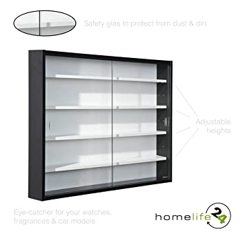 H24living Display Cabinet, Collection Cabinet, Glass Display Case, Wall  Display Unit, Wall
