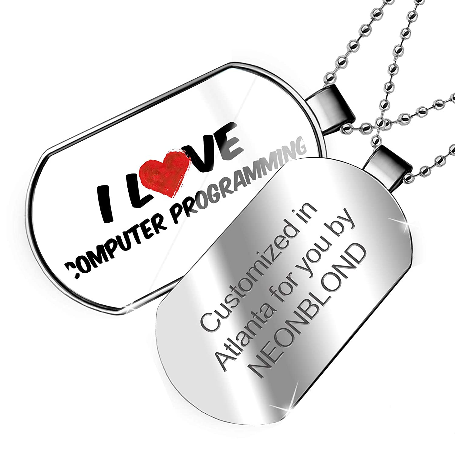 NEONBLOND Personalized Name Engraved I Love Computer Programming Dogtag Necklace