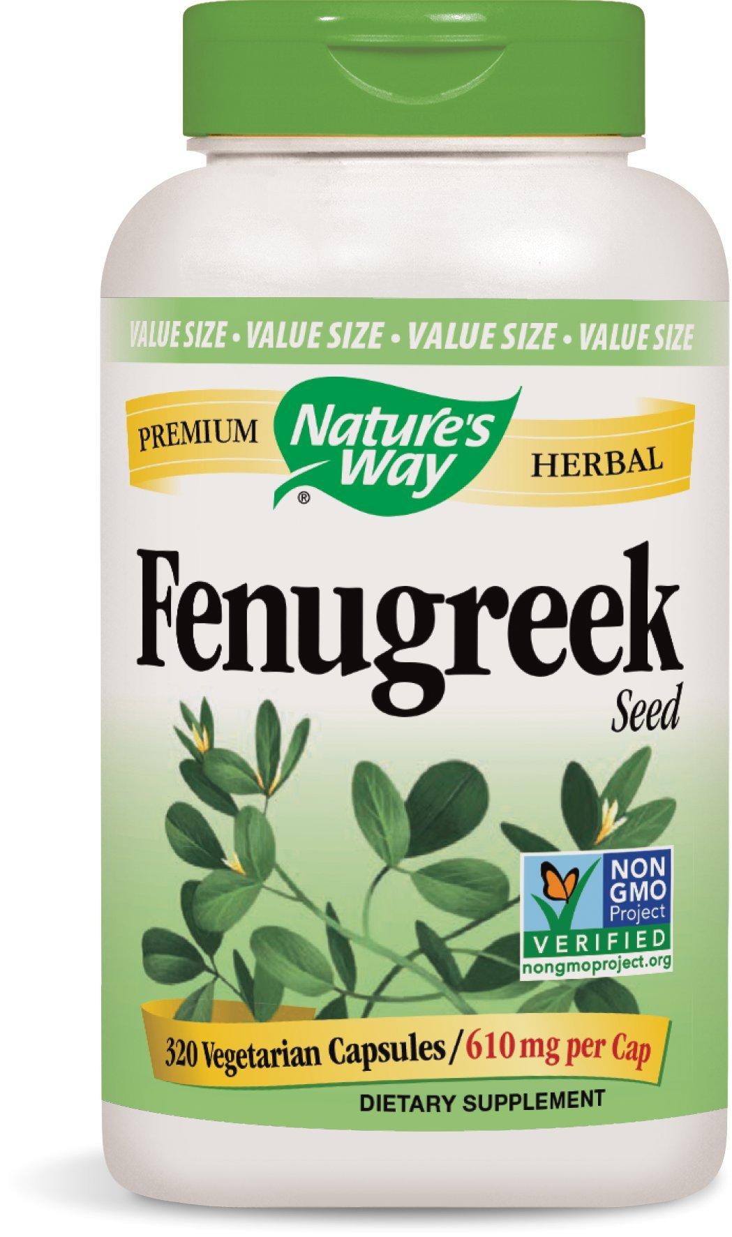 Nature's Way Premium Herbal Fenugreek Seed 610 MG Veg-Capsule, 320 Count