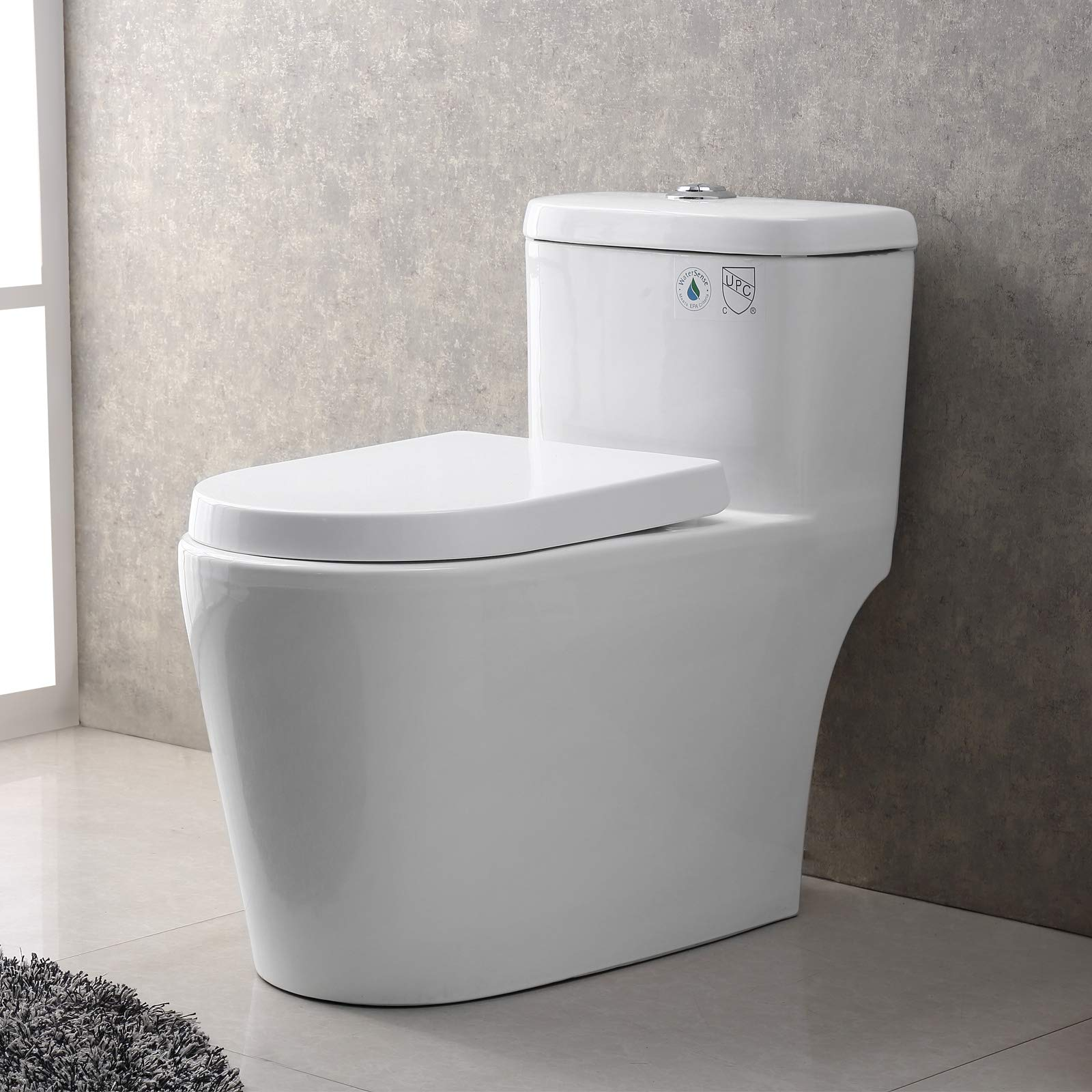 Mecor One-Piece Toilet Siphon Dual Flushing,Soft Closing Quick Release Seat 0.8/1.28Gpf,Cotton White. (27.6''X15.6''X27.9'') by mecor