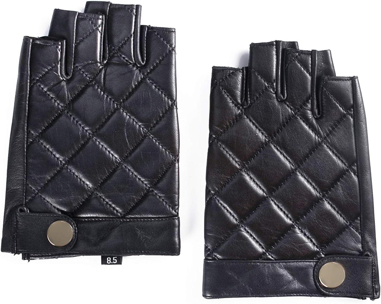 YISEVEN Mens Fingerless Lambskin Smooth Leather Gloves