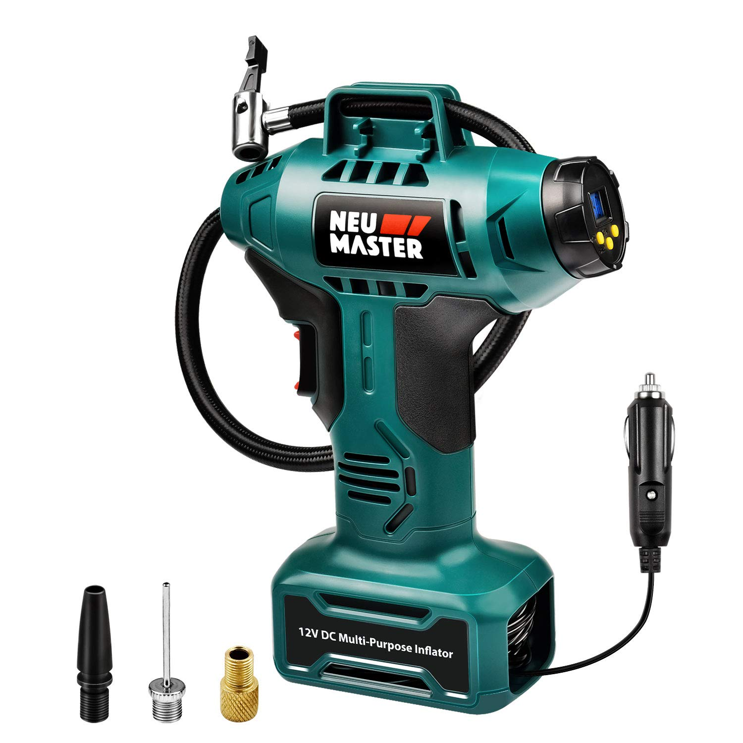NEU MASTER Tire inflator, Portable Air Compressor 160 PSI, 12V, Air Pump with Digital Pressure Gauge, LED Lighting, 3 Types Nozzles, Handheld Pump by Cigarette Lighter Power Source by NEU MASTER