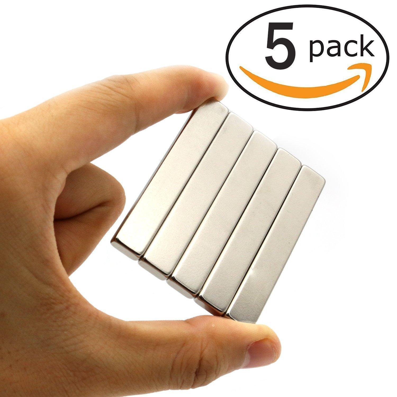 5 pezzi Magneti al neodimio, Magneti al neodimio Super Rettangolo-60 x 10 x 3 mm, Utilizzato per Frigoriferi, Uffici, Esperimenti Scientifici KAINSY