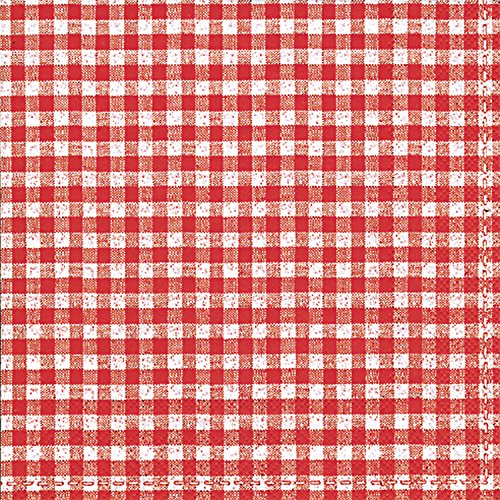 Celebrate the Home Vichy Bavaria 3-Ply Paper Cocktail Napkins, 20-Count, Red Gingham