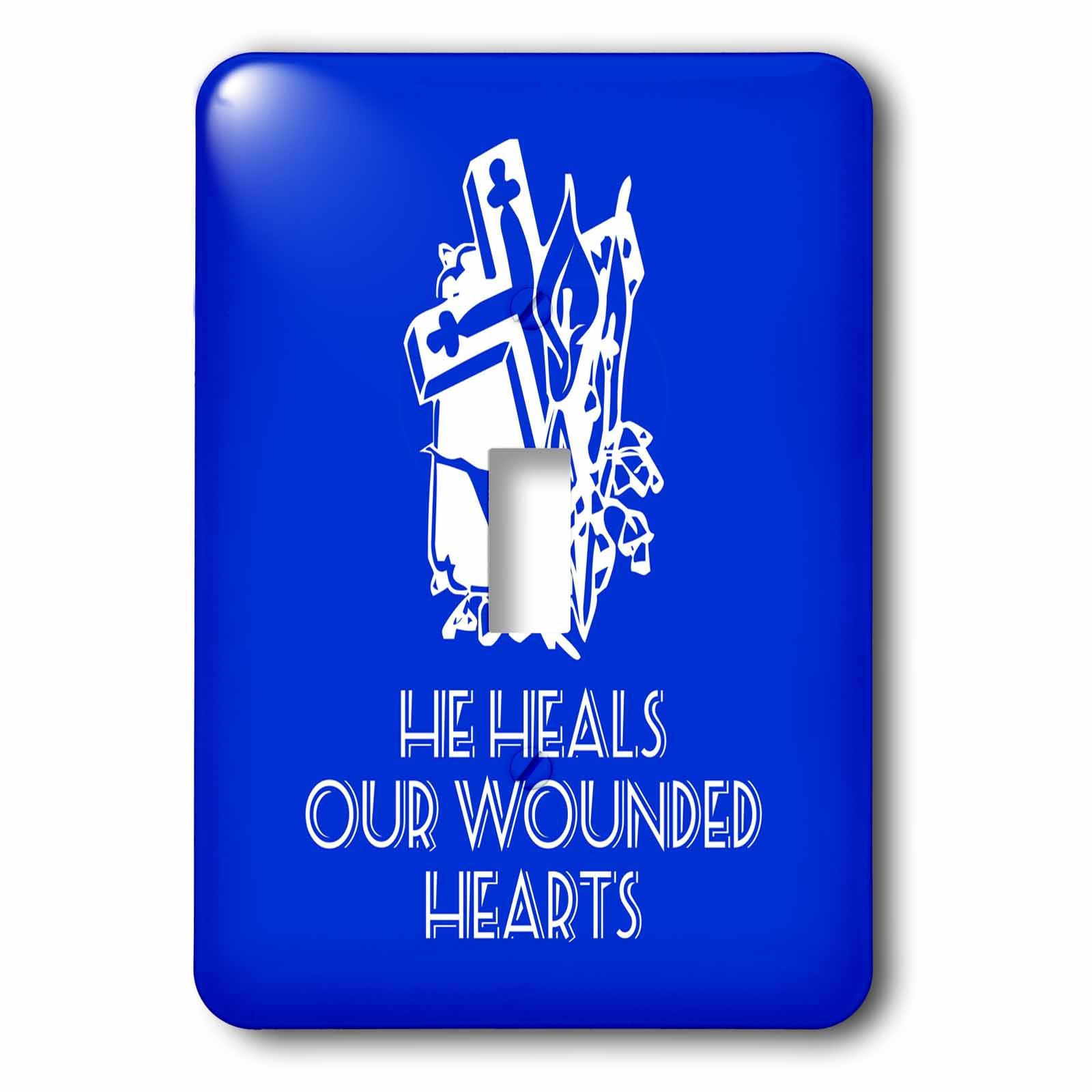 3dRose Alexis Design - Christian - Cross and flowers, the text He heals our wounded hearts on blue - Light Switch Covers - single toggle switch (lsp_286185_1)
