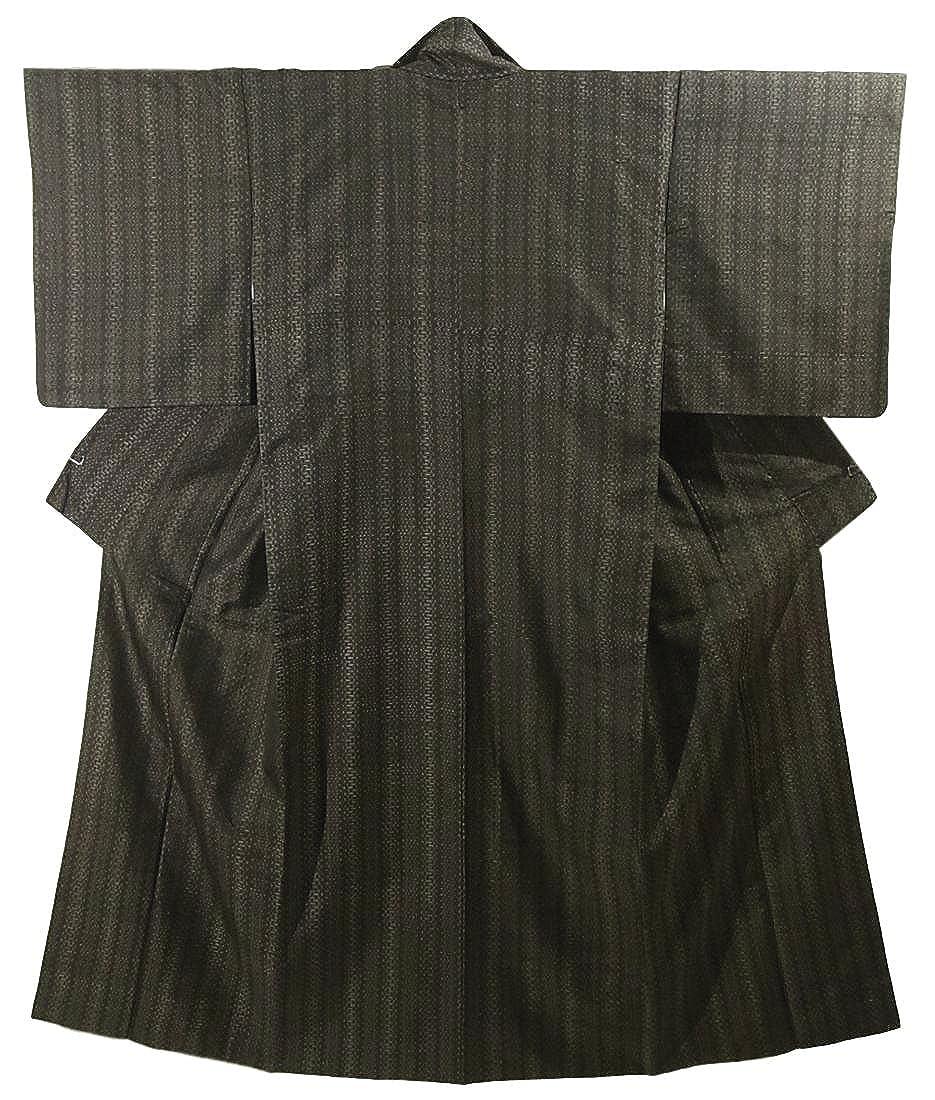 リサイクル 着物  紬 正絹 袷 縞模様 裄63cm 身丈155cm B07DK7N7PD  -