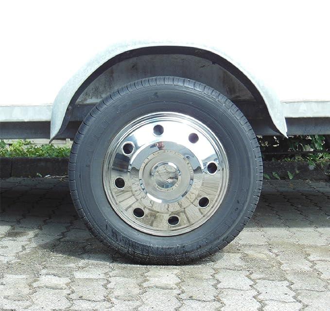 Universal Juego Juego Tapacubos metálicos Encorvada (2 unidades) Acero Inoxidable 15 pulgadas, apto para caravanas, coches, furgonetas y colgante: ...