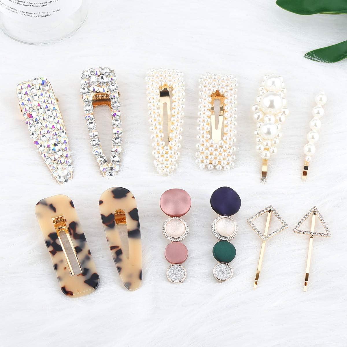 Makone clips de perlas, clips de diamantes de imitación, horquillas para el cabello 12PC Variedad de pinzas para el cabello combinadas para mujeres Accesorios para el cabello Barrette para el cabello