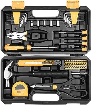 Juego de herramientas manuales 62 piezas para herramientas domésticas con estuche: Amazon.es: Bricolaje y herramientas