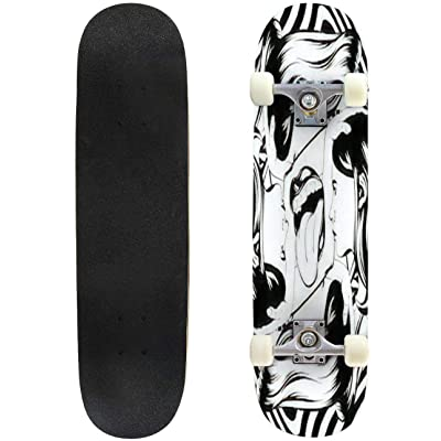 Classic Concave Skateboard Vector Hand Drawn Illustration of Twins with Human Mouth with Tongue Longboard Maple Deck Extreme Sports and Outdoors Double Kick Trick for Beginners and Professionals : Sports & Outdoors