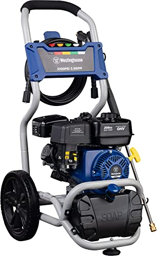 Westinghouse WPX3100 Gas Powered Pressure Washer with Soap Injection – 3100 PSI 2.5 GPM – One Gallon Reservoir – 30 SUPR-flex Hose – 5 Quick-Change Nozzles