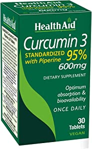 Curcumin 3, 30ct, 600mg Once Daily Tablets, Helps with Optimum Absorption 7 Bioavailability, Standardized with Piperine