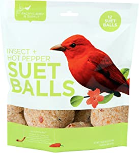 Pacific Bird & Supply Co Insect + Hot Pepper Suet Balls PB-0100 (12 Pack)