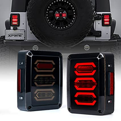 Jeep Wrangler Led Tail Lights >> Amazon Com Xprite Jeep Wrangler Led Tail Lights Smoke Lens Red Led