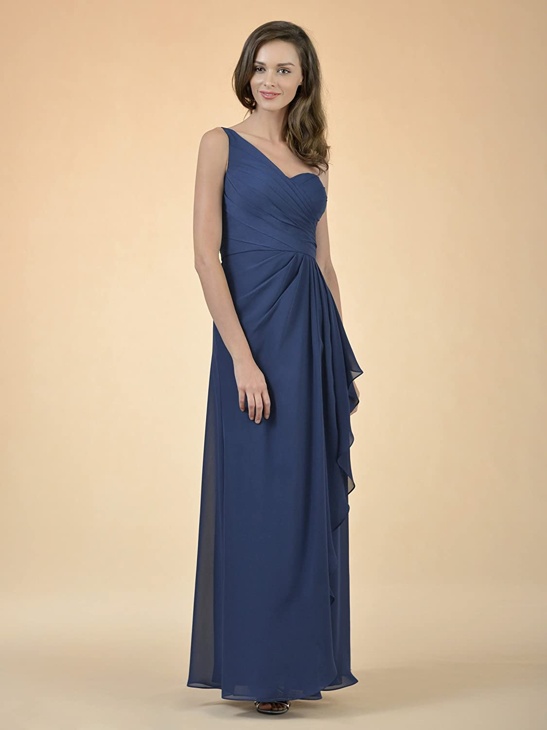 Alicepub One Shoulder Bridesmaid Dress Asymmetrical Evening Party Dress for Women