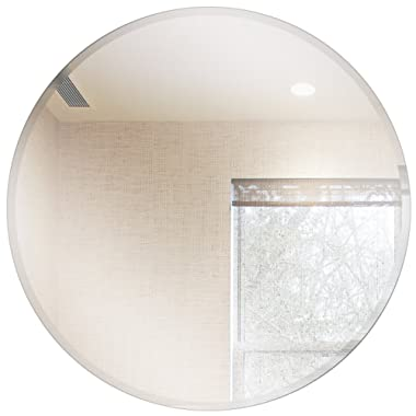 Fab Glass and Mirror Round Beveled Polished Frameless Wall Mirror with Hooks, 42  Inch, Silver