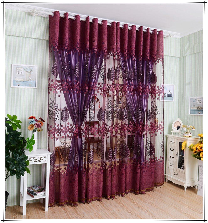 Leaf Hollow Window Screens Door Balcony Curtain Panel Sheer Cover RD