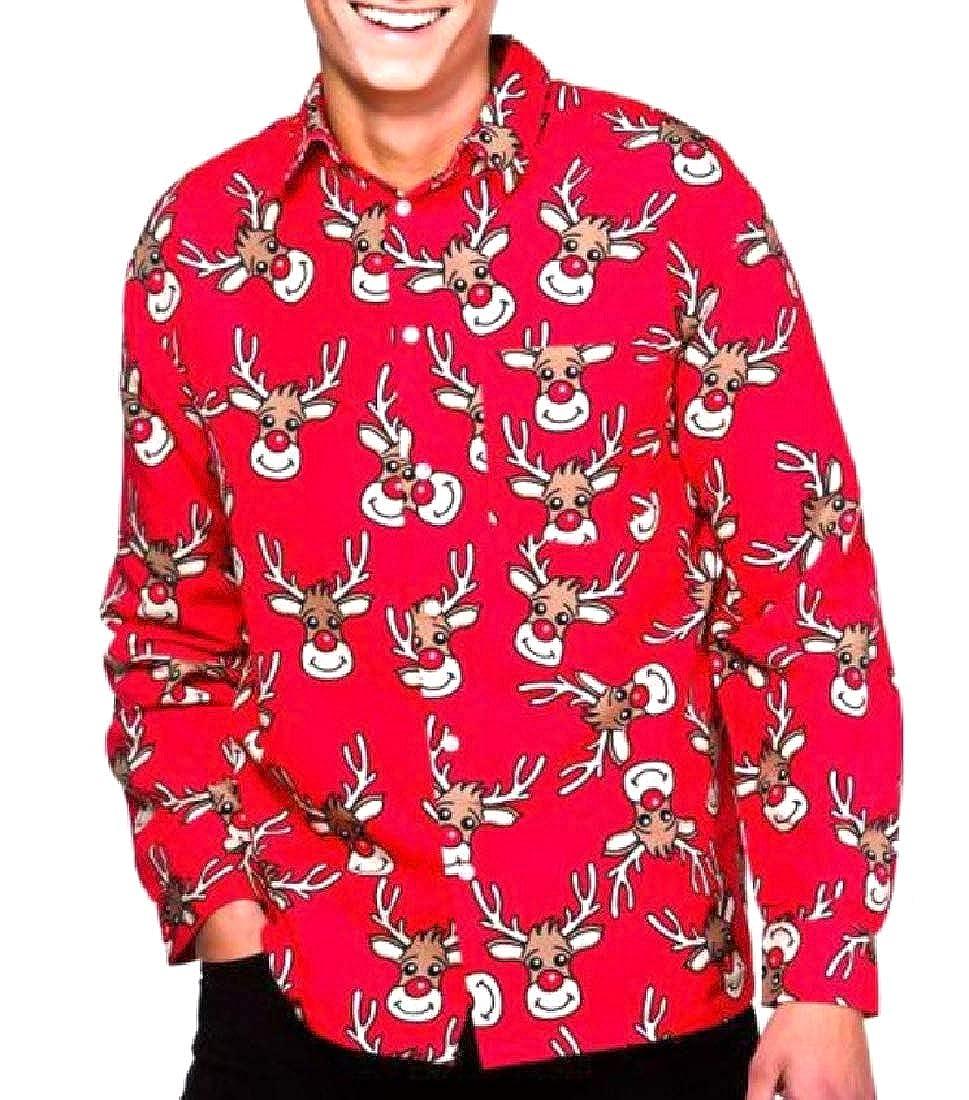 Vska Men Original Fit Print Ugly Christmas Fold-Collar Top Shirt