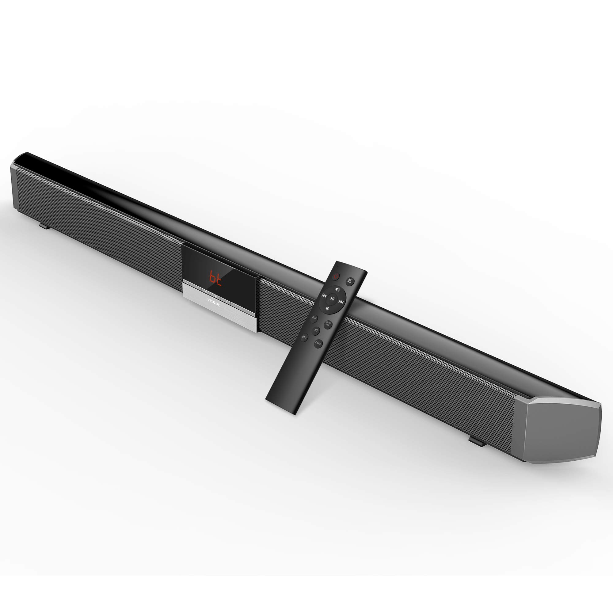 Soundbar, Visoud 34-inches Sound Bar for TV, Wired and Wireless Bluetooth Audio Speakers( Home Theater Surround Sound, Remote Control, Support Optical/AUX/Coaxial/USB/BT Connection)