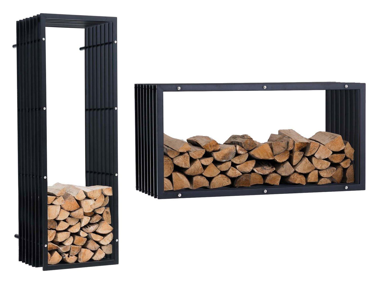 CLP Porte-bû ches en Mé tal pour Montage Murale Irving V3 - Construction Stable - Support de Rangement pour Bois de Chauffage - Taille au Choix: 50 x 40 x 150 cm