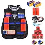 edcmart Kid's Tactical Vest Kit for Nerf Guns N-Strike Elite Series with Blood Meter, Darts, Reload Clips, Goggles, Mask, Wrist Band, Target Cans