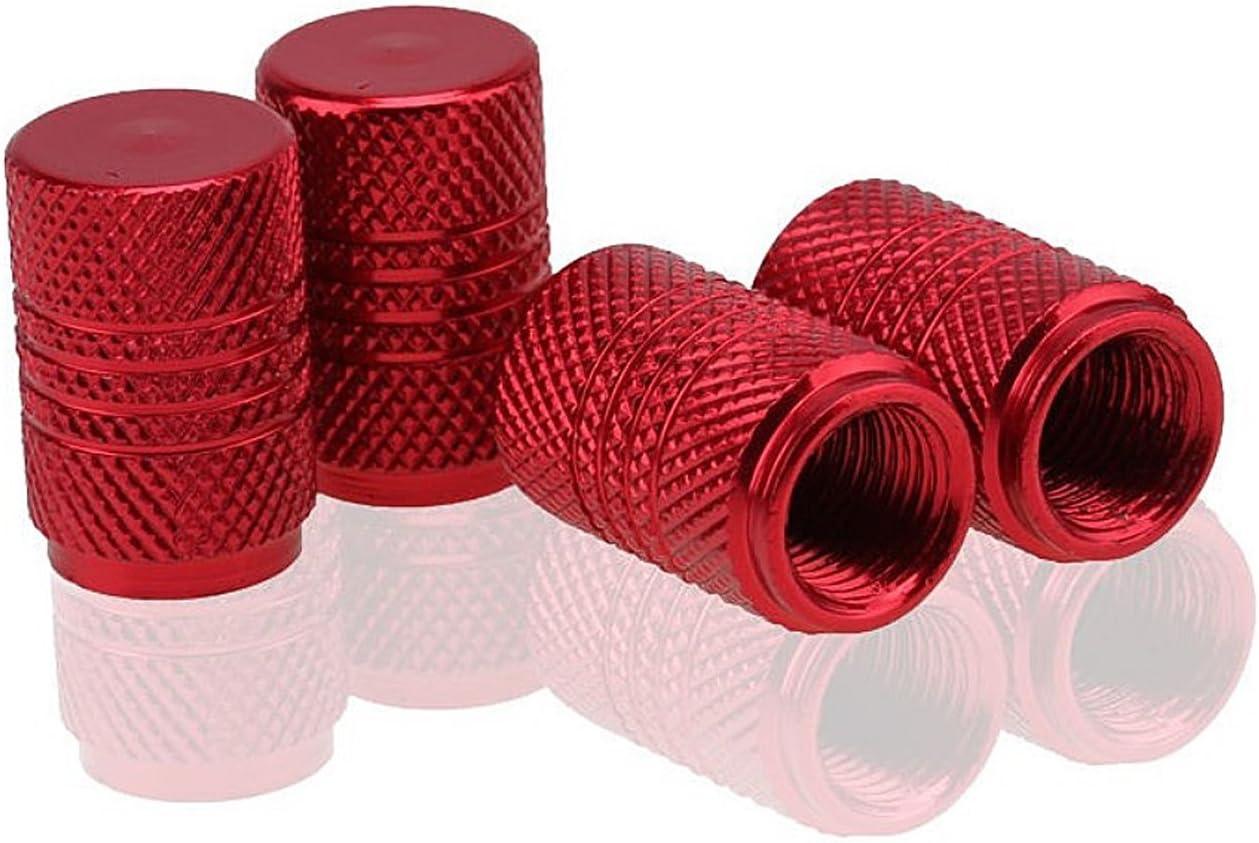 ETU24/® Lot de 4 bouchons de valve ronds en aluminium anodis/é m/étallique Rouge