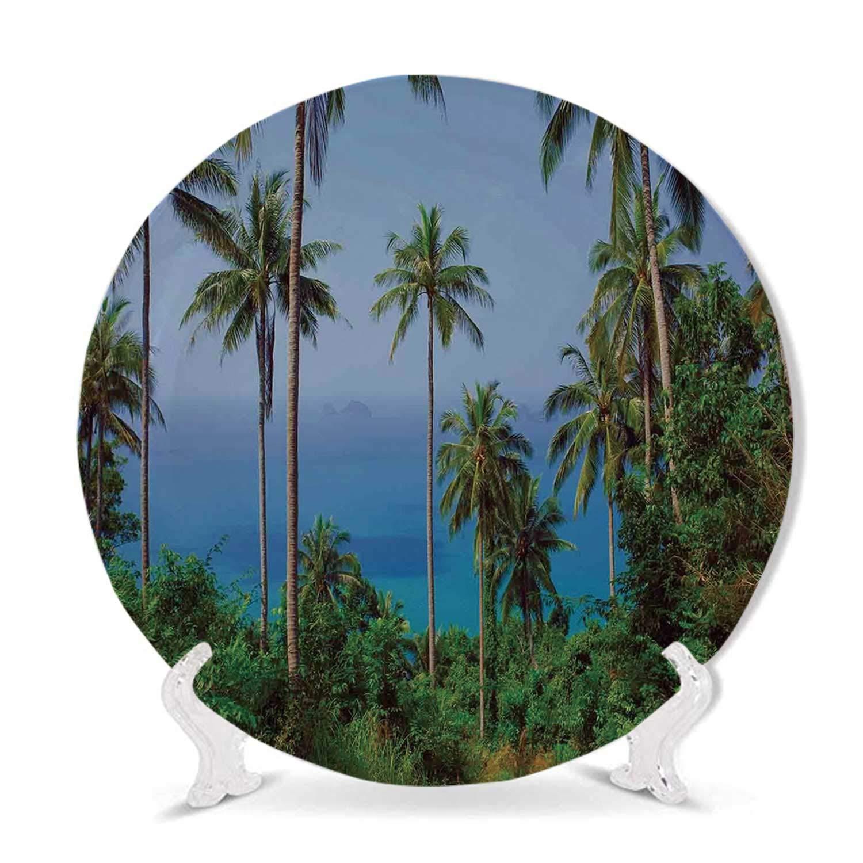 Hitecera Pillar Decor Art Plate,Antique Theme Classic Interior with Ionic Column Marble Floor Digital Image for Home,6 inch