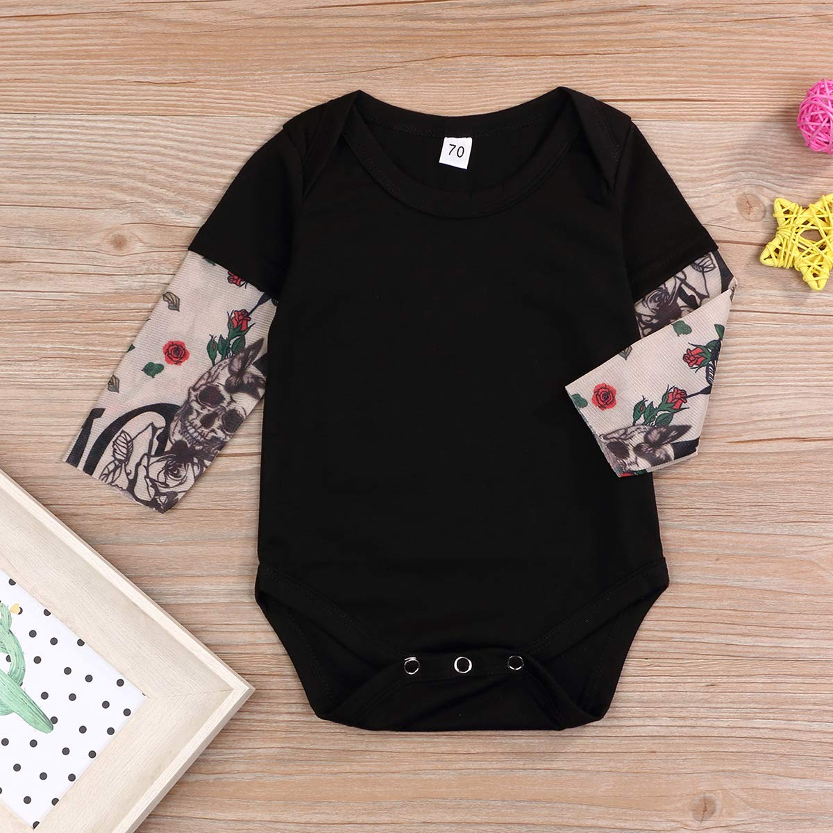 YOUNGER TREE Infant Baby Boys Girls Romper Tattoo Print Long Sleeve Jumpsuit Bodysuit One-Piece 0-24 Months