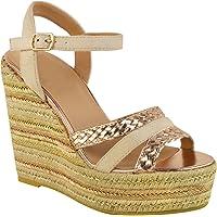 Fashion Thirsty Womens Gold Metallic Espadrille Platform Wedges Sandals Summer