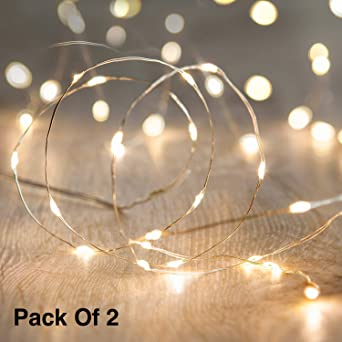 new concept 39a7e 4e586 Citra Battery Operated Sliver String Light 1M 10 LED Decorative String  Fairy Lights Warm White - Pack of 2