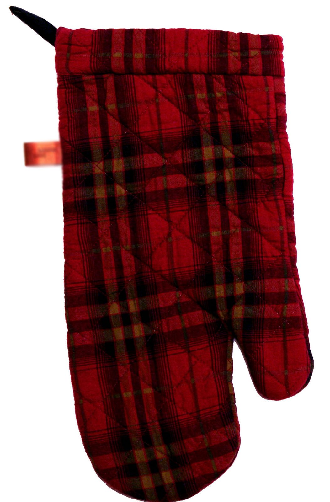 "Custom & Durable {14"" x 6.5"" Inch Each} 4 Set Pack of Mid Size ""Non-Slip"" Pot Holders Gloves Made of Cotton for Carrying Hot Dishes w/ Quilted Crimson Plaid Style {Red, Black, Tan, & Grey}"