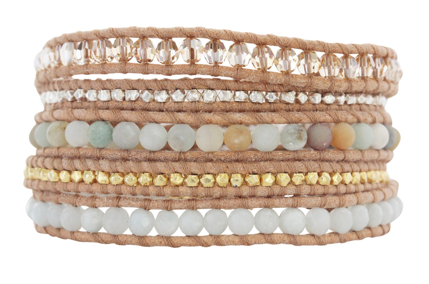 Chan Luu Pastel Blue Mix Golden Shadow Crystal Beige Leather Wrap Bracelet BS-4622